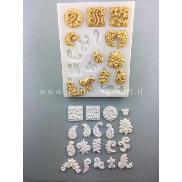 Silicone mold for friezes and curls in sugar paste