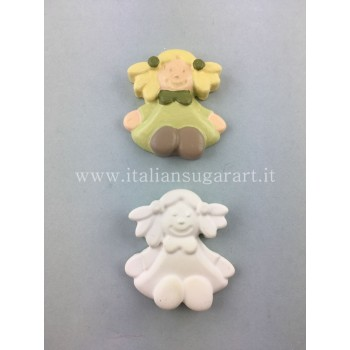 stampo silicone bimba con trecce per polvere di ceramica o pasta di zucchero